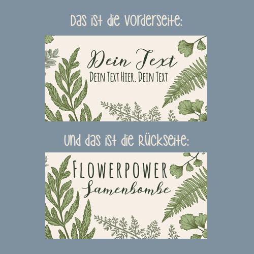 Personalisierte Gastgeschenke Hochzeit Samenbomben Botany Text Detail Design Übersicht
