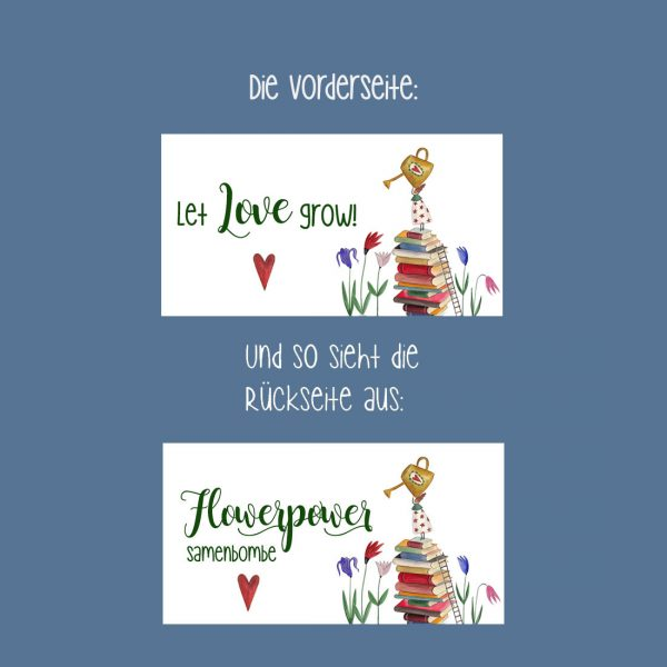 Samenbombe Gärtnerin Let Love Grow gastgeschenk hochzeit taufe kommunion konfirmation jugendweihe geburtstagt werbegeschenk