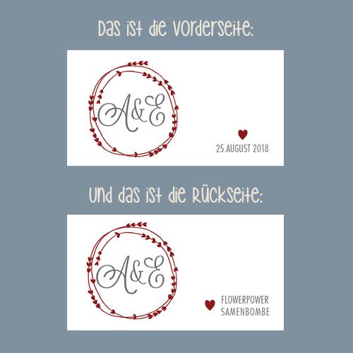 Samenbombe Monogramm Personalisiertes Gastgeschenk Rot designansicht hochzeit